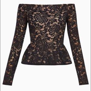 BCBG off the shoulder lace peplum blouse
